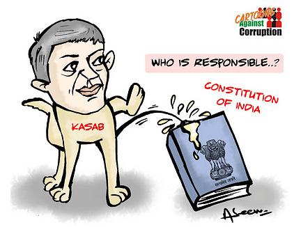 aseem trivedi kasab peeing on Indian Constitution